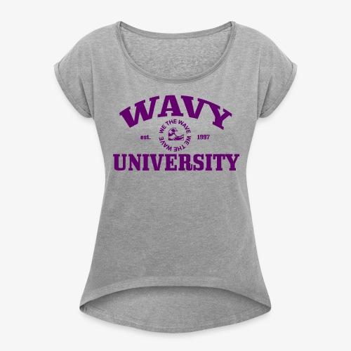 Wavy U (Purple) - Women's Roll Cuff T-Shirt