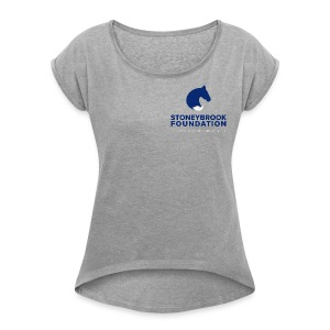 sbf logo stacked white dblue - Women's Roll Cuff T-Shirt