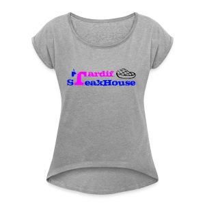 Tardif SteakHouse Bleu Rose - T-shirt Femme à manches retournées