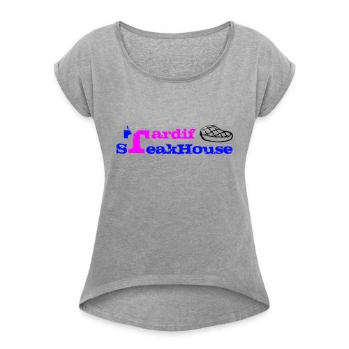 Tardif SteakHouse Blue Pink - Women's Roll Cuff T-Shirt