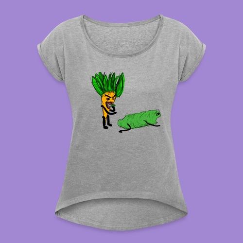 carrot eating a cucumber - Women's Roll Cuff T-Shirt