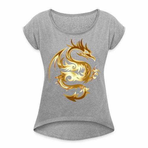 Abstract golden dragon - Women's Roll Cuff T-Shirt
