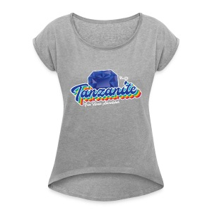 Tanzanite Birthstone Gem - Women's Roll Cuff T-Shirt