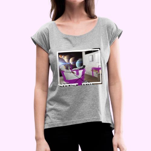 Space Man in Tub - Women's Roll Cuff T-Shirt