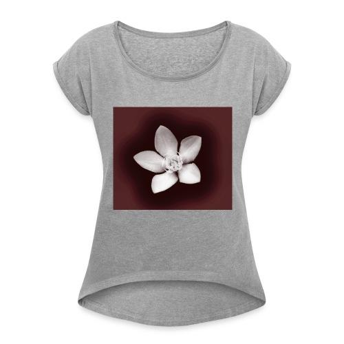 Beautiful Flower Design - Women's Roll Cuff T-Shirt