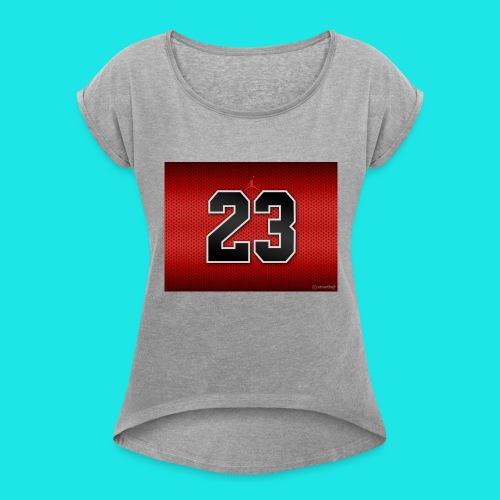 Jordan_Bulls_Jersey - Women's Roll Cuff T-Shirt