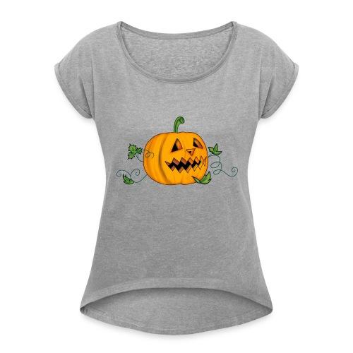 THE HALLOWEEN PUMPKIN - Women's Roll Cuff T-Shirt