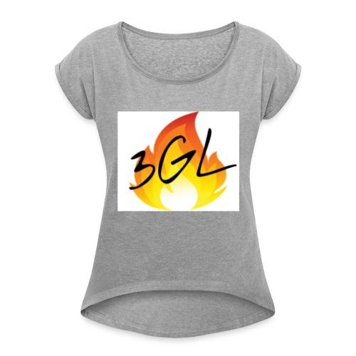Hot logo full whiteu - Women's Roll Cuff T-Shirt