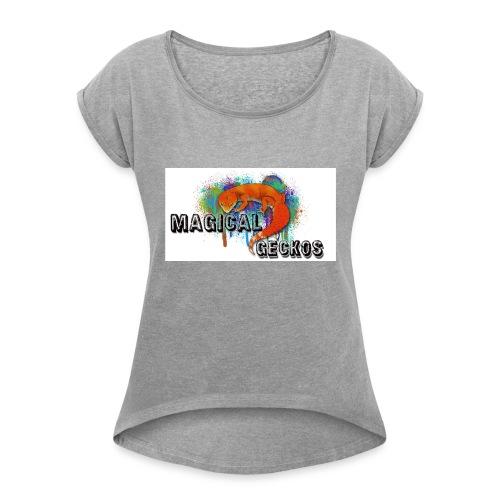 Magical Geckos Logo - Women's Roll Cuff T-Shirt