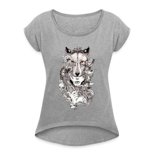 Wolf Lady - Women's Roll Cuff T-Shirt