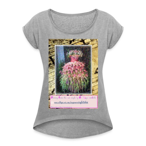 Flowery Gown - Women's Roll Cuff T-Shirt
