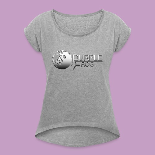 PurpleF LogoWhite Small Copy - Women's Roll Cuff T-Shirt