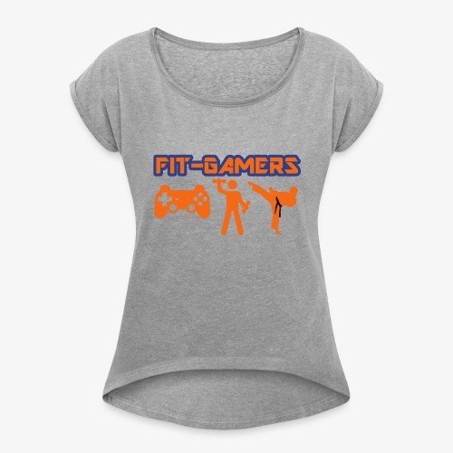 FIT-GAMERS Logo w/ Icons - Women's Roll Cuff T-Shirt