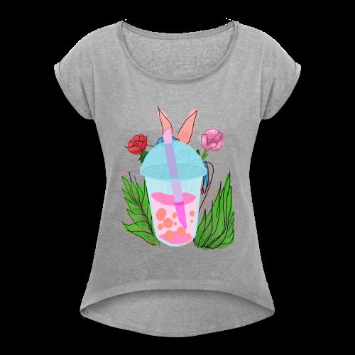 Floral bubble tea - Women's Roll Cuff T-Shirt