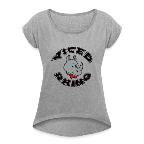 Viced Rhino Logo - Women's Roll Cuff T-Shirt