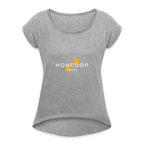 Honcoop Athletic White On Orange Logo - Women's Roll Cuff T-Shirt
