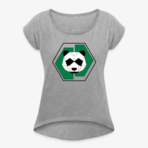 Panda Geometric - Women's Roll Cuff T-Shirt