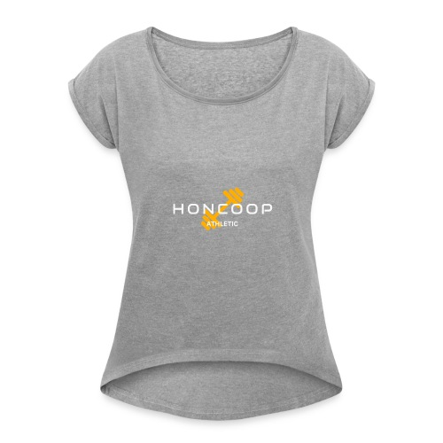 Honcoop Athletic White On Orange Logo - Women's Roll Cuff T-Shirt
