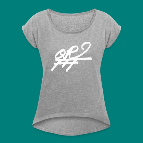 QRFFF RAW SHARPIE WHT - Women's Roll Cuff T-Shirt