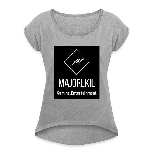 Black Alternative Logo - Women's Roll Cuff T-Shirt