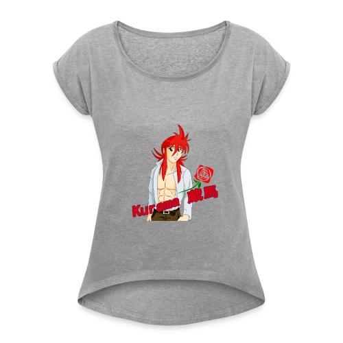 Kurama Sexy Pose Shirt Design #1 - Women's Roll Cuff T-Shirt