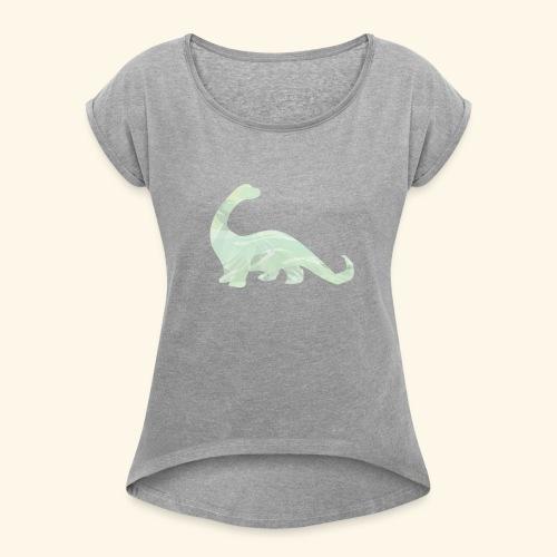 green brachi dinosaur - Women's Roll Cuff T-Shirt