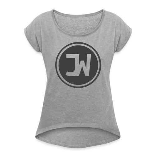 Grey Johannes With Logo - Women's Roll Cuff T-Shirt