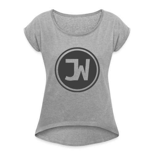 Grey Johannes With Logo - Women's Roll Cuff T-Shirt