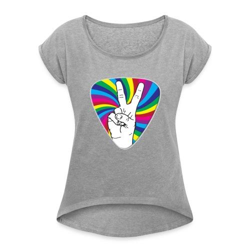 Peace Sign Guitar Pick - Women's Roll Cuff T-Shirt