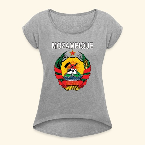 Mozambique coat of arms national design - Women's Roll Cuff T-Shirt