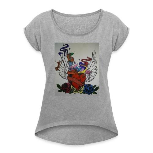 Winged heart - Women's Roll Cuff T-Shirt