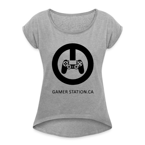 GamerStation.ca logo - Women's Roll Cuff T-Shirt