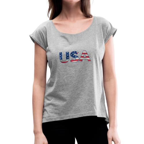 USA Flag T-shirt 4th July Fourth Red White Blue - Women's Roll Cuff T-Shirt