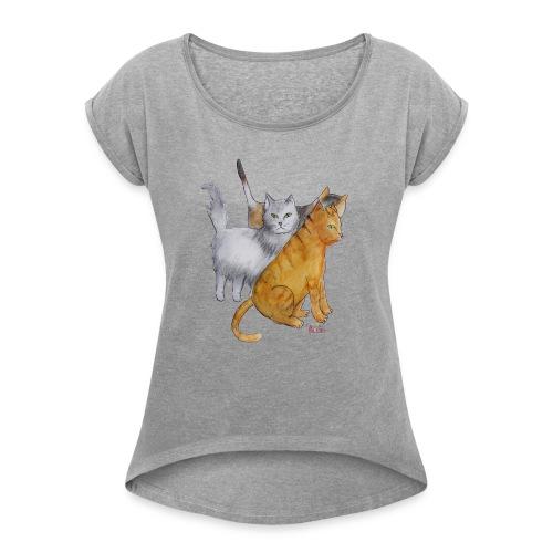 Paris Street Cats - Women's Roll Cuff T-Shirt