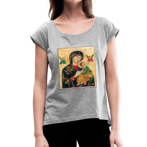 Icon of the Virgin Mary with baby Jesus - Women's Roll Cuff T-Shirt