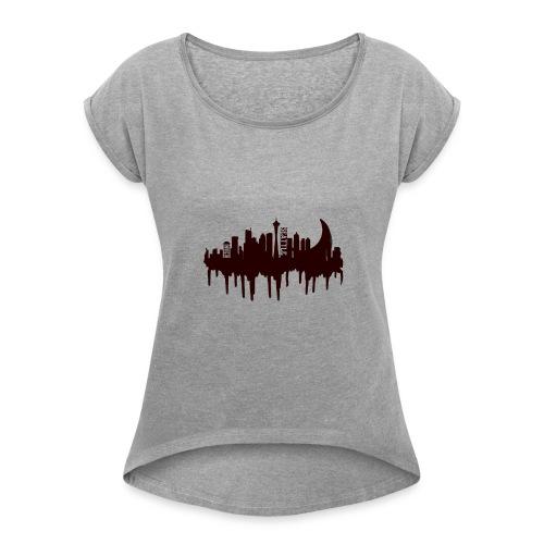 Seattle Moon and Skyline - Women's Roll Cuff T-Shirt