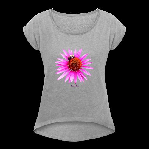 Bee on a pink - orange flower - Women's Roll Cuff T-Shirt