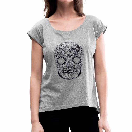 Calaber Zentangle black and White - Women's Roll Cuff T-Shirt
