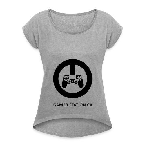 GamerStation.ca logo - Women's Roll Cuff T-Shirt