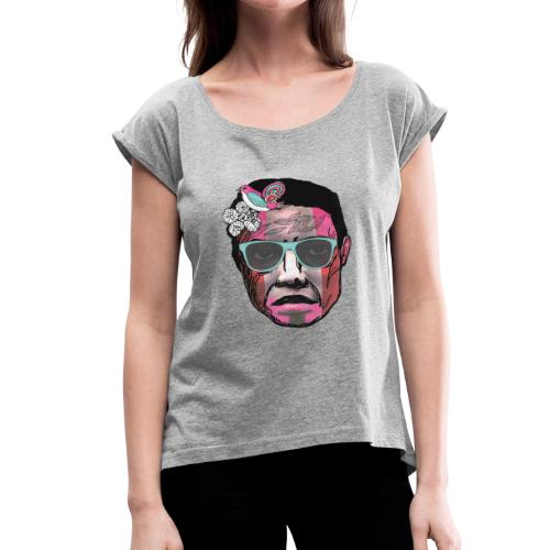 Face with Stripes - Women's Roll Cuff T-Shirt