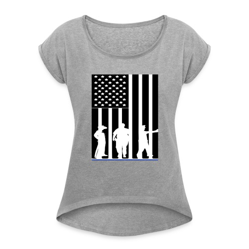 LAW ENFORCEMENT TRIO FLAG SHIRT - Women's Roll Cuff T-Shirt
