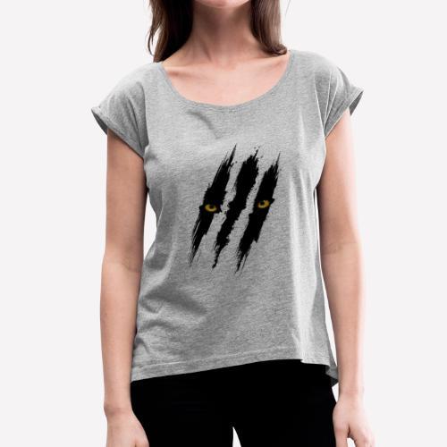 Black Panther Scratch - Women's Roll Cuff T-Shirt