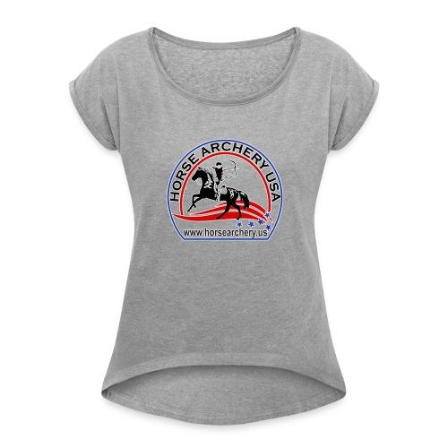 HAUSA GLOW LOGO - Women's Roll Cuff T-Shirt
