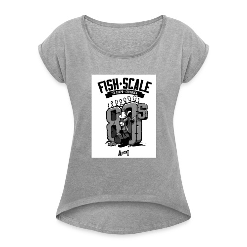 fish scale design - Women's Roll Cuff T-Shirt