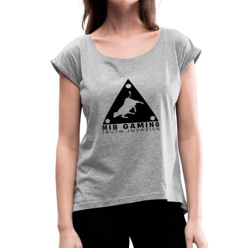 MIB LOGO: TRUTH INVASION TRIANGLE UFO - Women's Roll Cuff T-Shirt