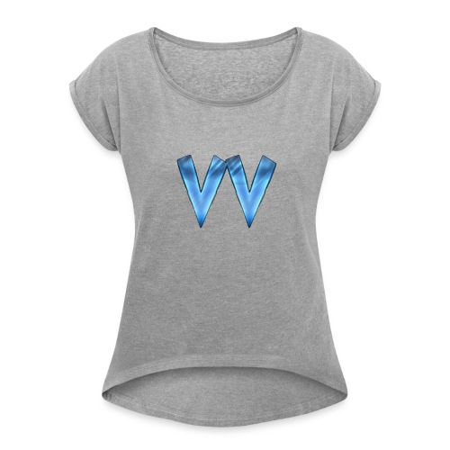 DOUBLE V (TRANSPARENT BACKGROUND) - Women's Roll Cuff T-Shirt