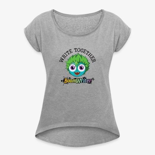 t shirt 22 black text - Women's Roll Cuff T-Shirt