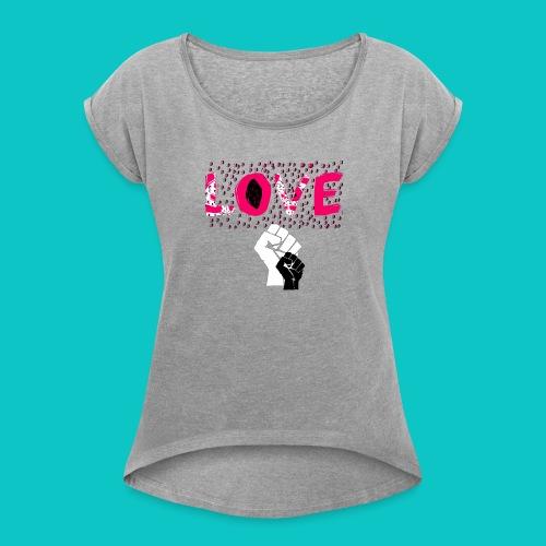 tshirt_1_love_wo_black_2_4 - Women's Roll Cuff T-Shirt