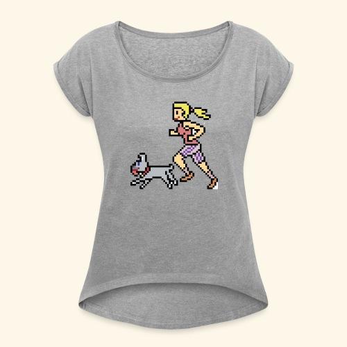 RunWithPixel - Women's Roll Cuff T-Shirt