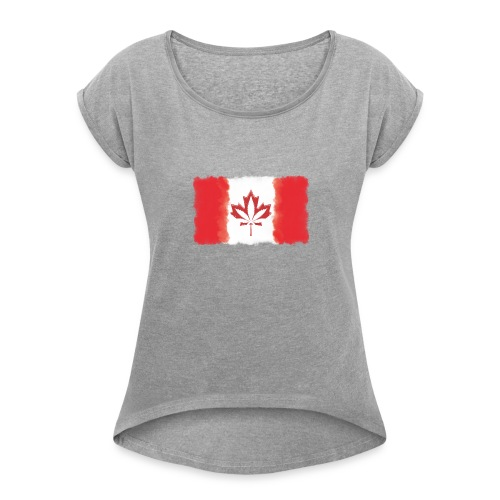 Canadian Flag - Cannabis Smoke Cloud - Women's Roll Cuff T-Shirt